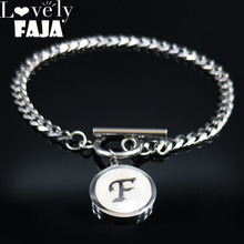 Fashion Punk Letter F Shell Stainless Steel Bracelets for Women Silver Color Bangles Jewelry moda mujer 2019 B1841920