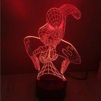 Novedad iluminación 7 Colorido patrón de Spiderman 3D led luz de noche lámparas de mesa moderna decoración luminaria táctil USB