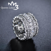 Queen Lotus 2017 New Zircon Crystal Exquisite Lace Hollow Silver Color Lace Index Finger Wide Ring
