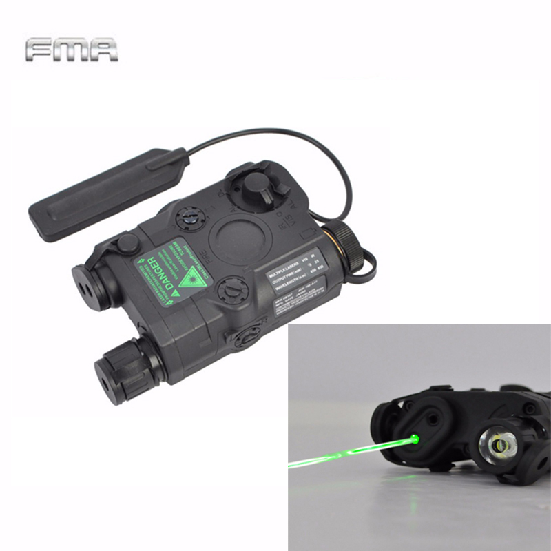FMA Tactical AN/PEQ-15 Green Dot Laser with White LED Flashlight Torch IR illuminator For Hunting Outdoor Black/Tan original fma tactical military airsoft an peq 15 battery box laser red dot laser with white led flashlight and ir lens tan bk