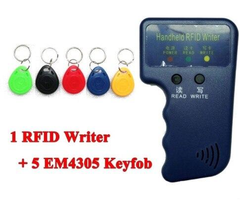 Handheld 125KHz EM4100 RFID Copier Writer Duplicator Programmer Reader + 5 Pcs EM4305 T5577 Rewritable ID Keyfobs Tags Card handheld 125khz rfid duplicator key copier reader writer id card cloner programmer 5 keys 5pcs rewritable cards em4305 t5577