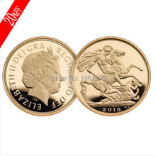 1oz UK British Sovereign Gold coin,St George slaying Dragon Reverse GOLD CLAD COIN free shipping 30pcs/lot