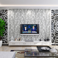 Black Leaf wall paper 3d flocking for TV Background Modern Fashion Relief Gray Plant Wallpapers For Living Room Bedroom Decor