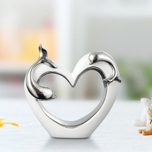 Creativity Heart-shaped Ceramic Vases  Figurines & Miniatures creative Furnishing articles for Home Wedding Decoration