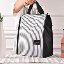 Black White Stripes Portable Thermal Lunch Bags for Women Kids Men Food Picnic Cooler Box Insulated Tote Bag Storage Container(China)