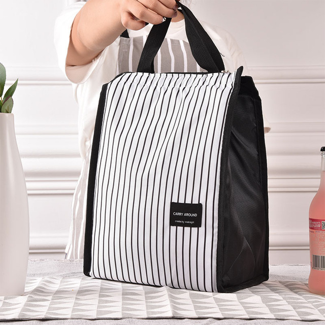 6d7be525823f Black White Stripes Portable Thermal Lunch Bags for Women Kids Men Food  Picnic Cooler Box Insulated Tote Bag Storage Container