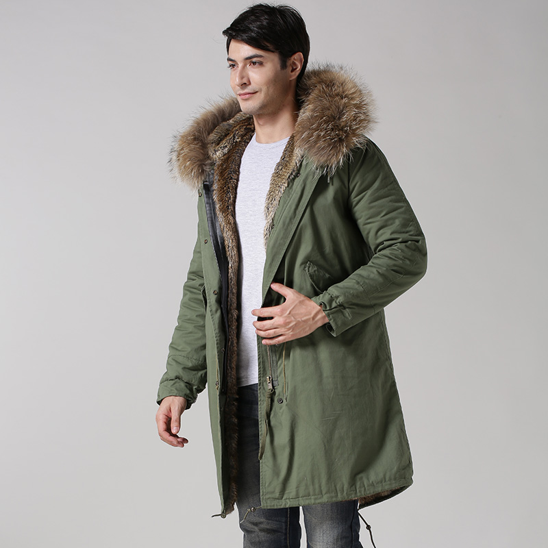2015 зима новый стиль mr из искусственного меха натуральный цвет меха длинная Стильная мужская куртка