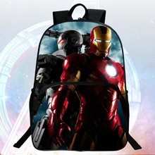 Wholesale  2016 Hot Sale Polyester Prints Avengers Iron Man  Black Boys School Backpacks Children Schoolbags Infantile Mochila