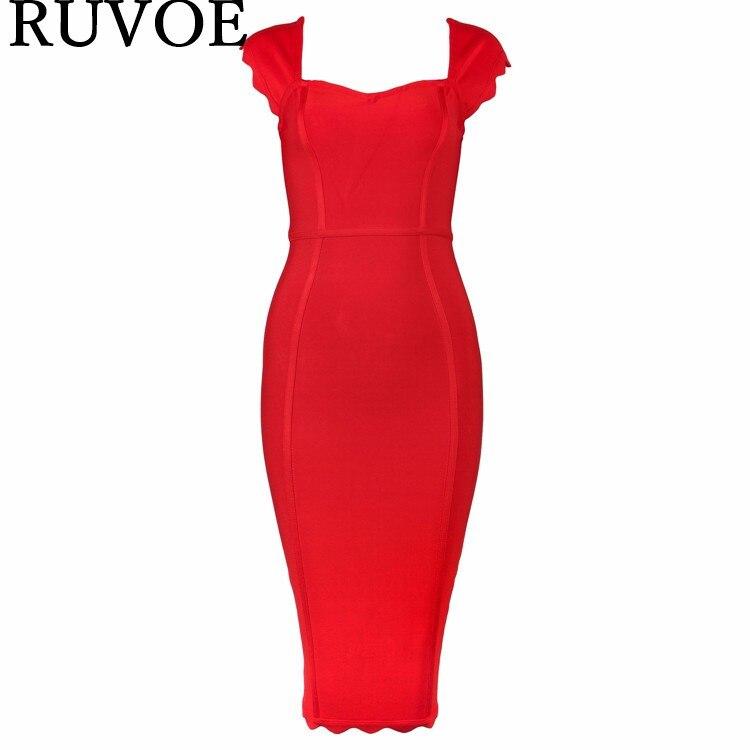 Col carré couleur unie Bandage robe été Sexy dame nouvelle fête arrivée rayonne moulante Midi mollet soirée robe YQ-239