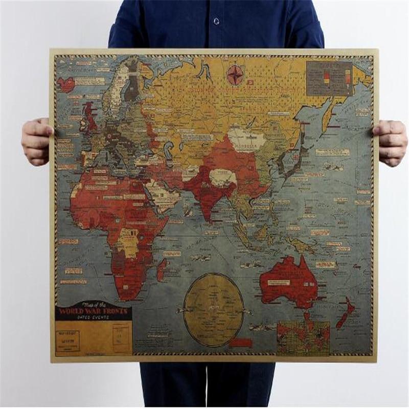 Neue Stil Weltkarte Kraftpapier Poster Wohnzimmer Zurck Boden Wandaufkleber Flugzeug Sricker Sigle Stck Paket Abnehmbare