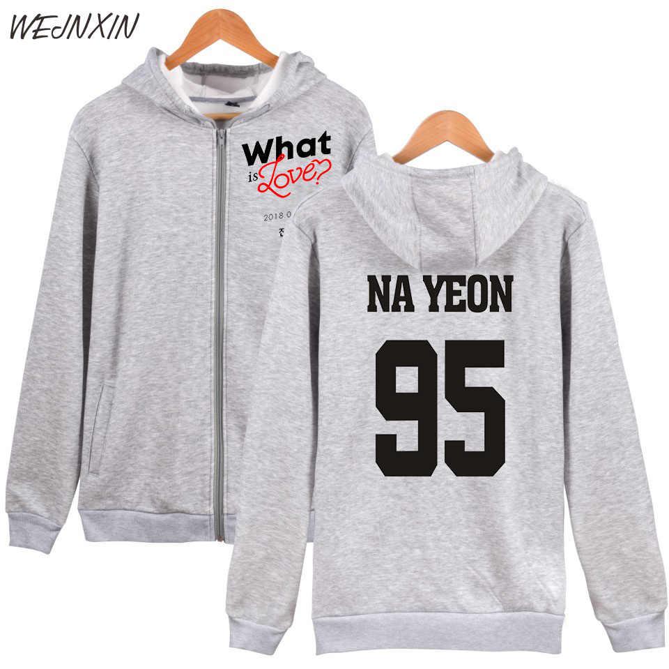 WEJNXIN Koreaanse Stijl Tweemaal Wat Is Liefde Ontwerp Zip Hoodies Mannen Vrouwen Hip Hop Rood Streetwear 95 Nayeon Truien Goedkope sweatshirt