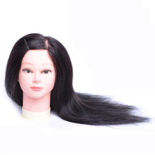 Professional Beauty 20inch Long Hair Mannequin Head Makeup Model Doll Cosmetology 80% Human