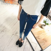 TRUST DREAM Spring Summer Young Girl Washed Gradient Color Slim Jeans Up Hip Female Casual Special Fashion Jeans
