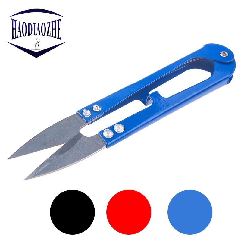 HAODIAOZHE 1Pcs U-shaped Mini Scissors For Fishing Sewing Nippers Fish Use Scissors Fishing Line Cutter Tools Random Color YU219
