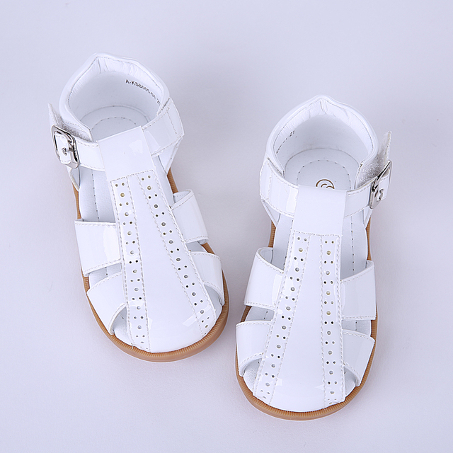Pettigirl Summer New Design Girl Shoes Four Colors Crossed Striped Leather Toddler Sandals Soft Kids Shoes US Size A-KSB005-01