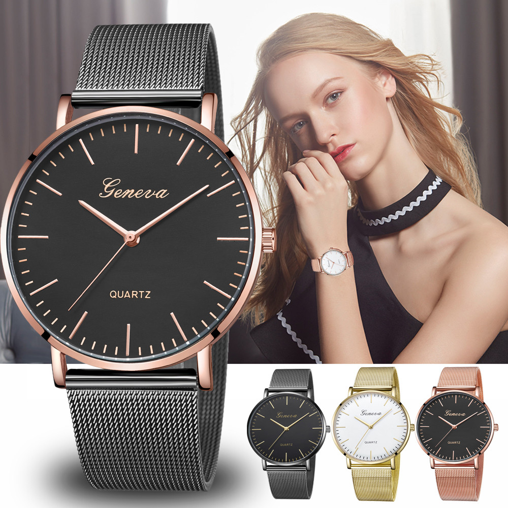 Moderne Mode Zwart Quartz Horloge Mannen Vrouwen Mesh Rvs Horlogeband Hoge Kwaliteit Casual Horloge Gift voor Vrouwelijke