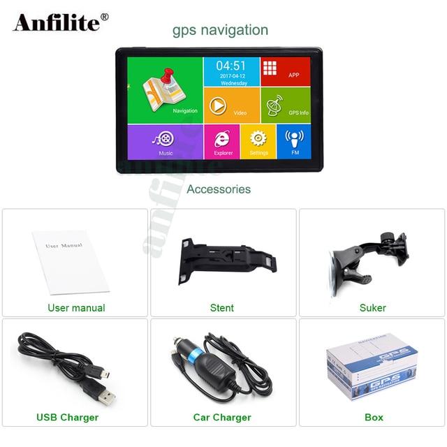 Anfilite 7 pulgadas HD pantalla capacitiva 800*480 Android Bluetooth WIFI camión vehículo 512 m 16 GB navegación gps con sombrilla