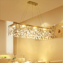 цена на Modern LED crystal chandelier restaurant hanging lights living room fixtures Nordic long suspended lighting dining pendant lamps