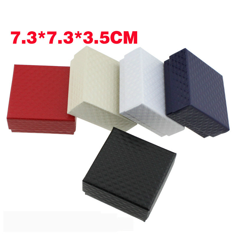 1 Pcs Square Jewelry Organizer Engagement Ring For Brooch Necklace Bracelet Display Gift Box Holder Black Red White Kraft Paper