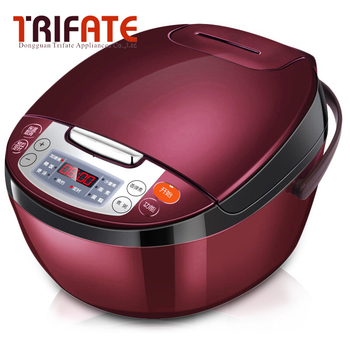 Wine red 220V 750W Multifunctional Smart Electric Rice Cooker 4L Heating pressure cooker home appliances for kitchen