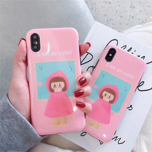 Cute pink hat girl phone case For iphone X XS XR XS MAX case fashion soft shell For iphone6 6s 7 8plus silicone protective cover hat prince protective silicone soft back case for 4 7 iphone 6 pink black