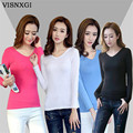 Spring T Shirts European Shirts Summer Long Sleeve Elegant  V-Neck Women Plus Size Thin Maid Knitted Pure Color Tops Blusas S088