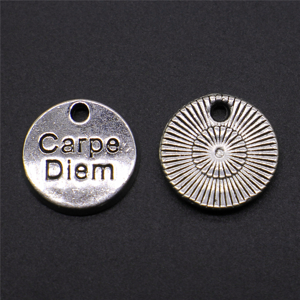 10pcs Charms Round Carpe Diem Tag Antique Silver Color Alloy DIY Jewelry Making Accessories 12x12mm