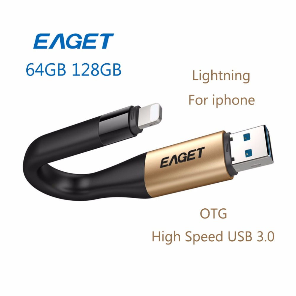 EAGET OTG USB Flash Drive USB 3.0 64G 128G 2 In 1 Pen Drive MFI Certified Charge Pendrive Memory Stick For Lightning For iPhone eaget u66 16gb usb 3 0 usb flash drive u disk memory stick pen drive