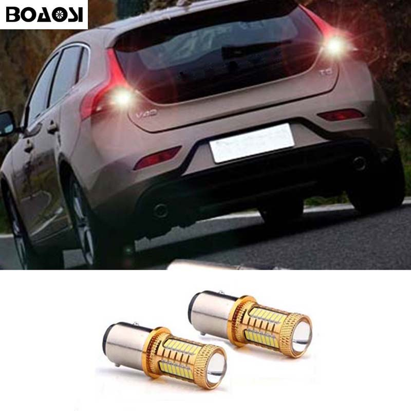 BOAOSO 2x 1156 P21W LED 4014 Chip Canbus backup reverse light lamp FOR volvo xc90 xc60 v70 s80 s40 v60 c30 v50 wljh 2x canbus 20w 1156 ba15s p21w led bulb 4014smd car backup reverse light lamp for bmw 228i 320i 328d 328i 335i m3 x1 x4 2015
