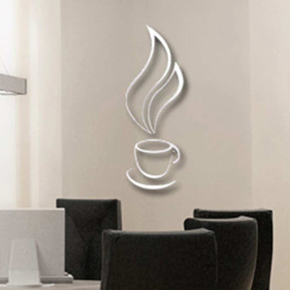 removable silver 3d coffee cup pvc decal wall sticker mural home