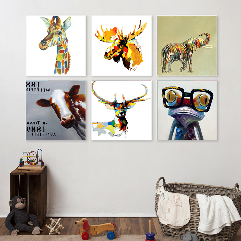 Haochu Nordic Decoration Colorful Rainbow Zoo Animals Giraffe Cow Elephant Deer Canvas Painting Wall Pictures Poster Home Decor