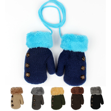 Knitted Full Finger Winter Gloves Kids Wool Warm Boys Children's Mittens Solid Color Rope Glove Girls Button Decoration Mitten