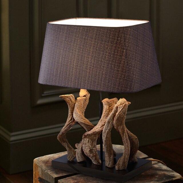 Luxus Retro Holz Tisch Lampe Luxus Schlafzimmer Nacht Lampe Skulptur Holz  Dekoration Lampe Abajur Led 109