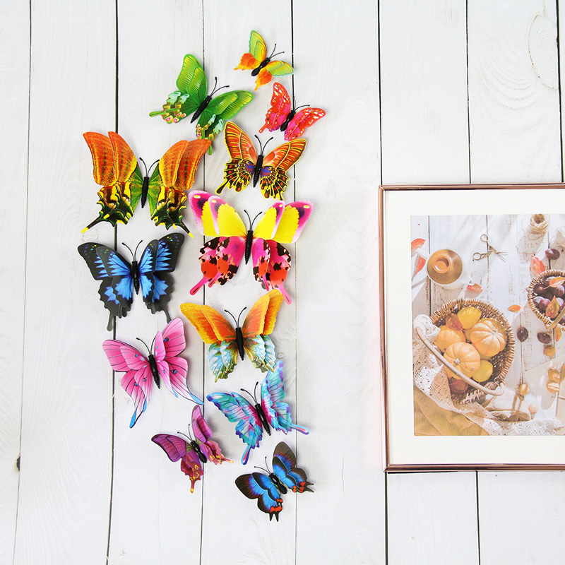 New 12pcs/set 3D Double Layer Pteris Butterfly Wall Sticker Home Decoration Colorful Butterflies On Wall Magnet Fridge Stickers
