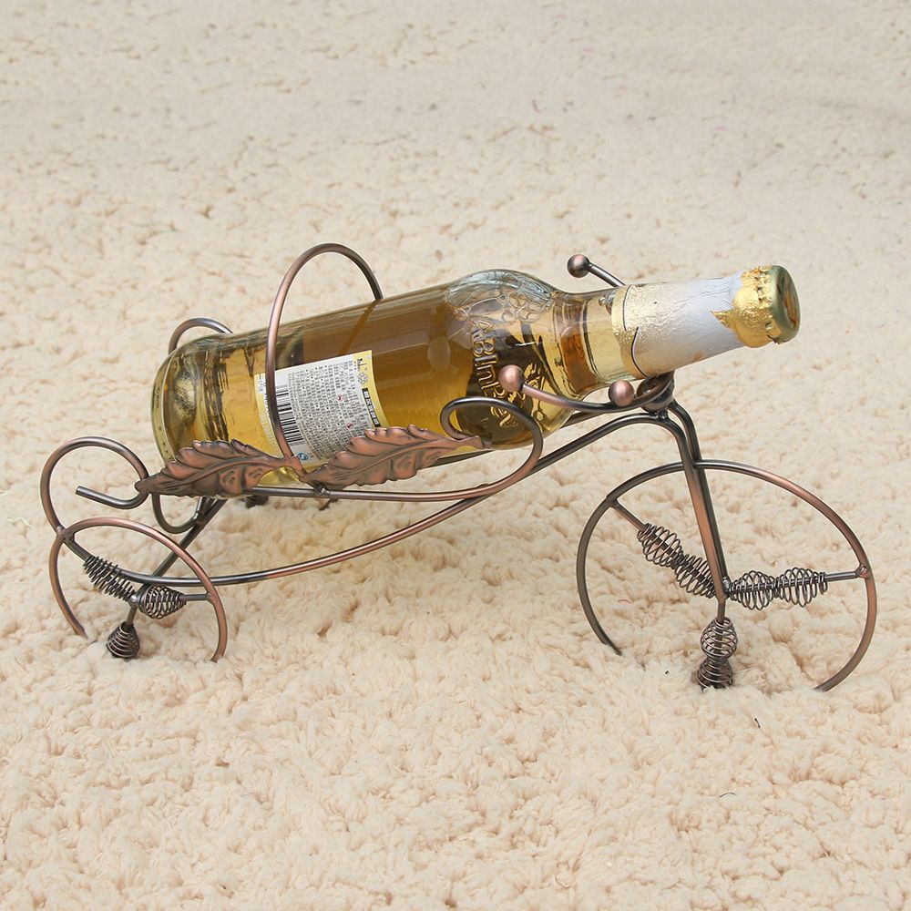 Tricycle Style Wine Rack Holder Shelf Metal Practical Sculpture stand Home Decoration Interior Crafts Christmas Gift