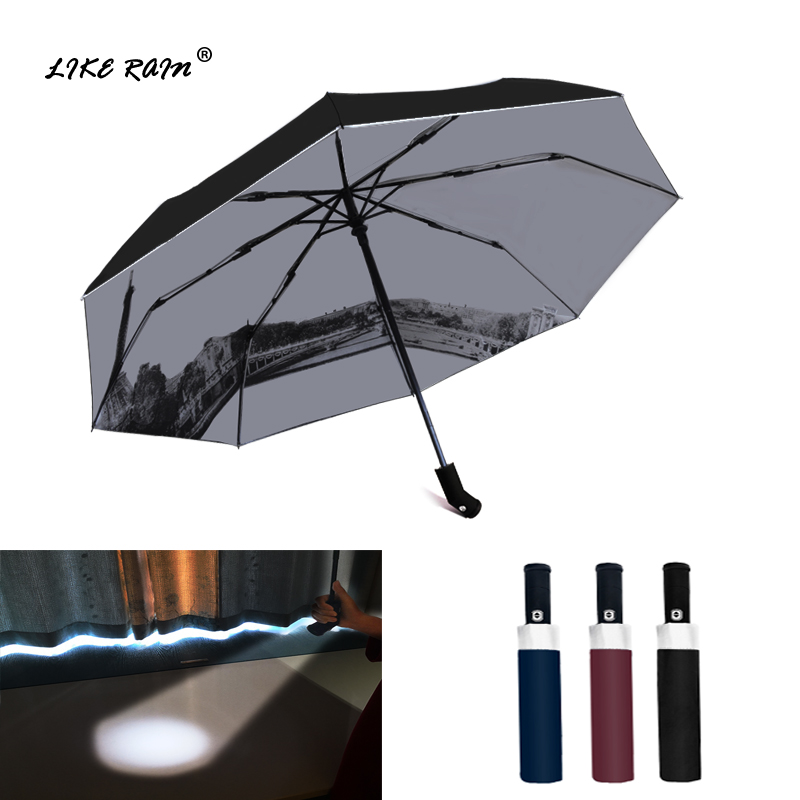 LIKE RAIN Creative LED Light Flashlight Umbrella Rain Women Brand Men Large Automatic Umbrella Eiffel Tower Umbrella UBY36