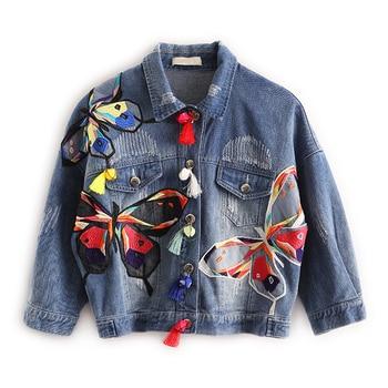 2018 Hitz женщин с вышивкой Бабочка кисточкой короткие джинсовая куртка для женщин