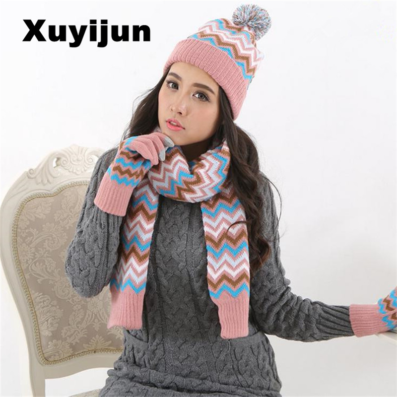 XUYIJUN winter gloves sets of cotton fashion women's hat scarf scarf hat and scarf set solid for women's knitwear skullies beani the lion wrench tool set 8 sets of 12 sets of tools gloves set