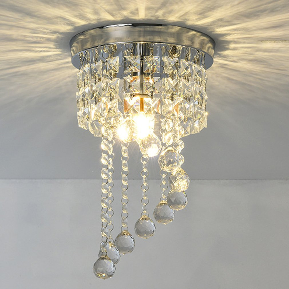 S forme porche en cristal étincelant plafond LED cristal lampe lustre couloir porche pendentif lumière éclairage