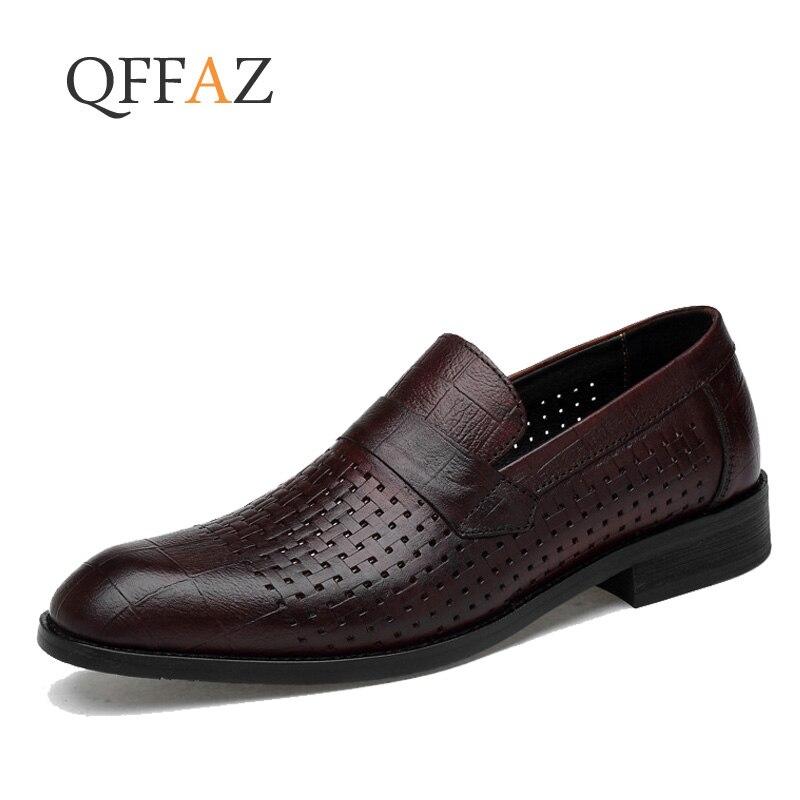 Ayakk.'ten Resmi Ayakkabılar'de QFFAZ erkek ayakkabısı Bahar Yaz Resmi Hakiki Deri Iş rahat ayakkabılar Erkekler Elbise Ofis Lüks Ayakkabı Erkek Nefes Oxfords'da  Grup 1
