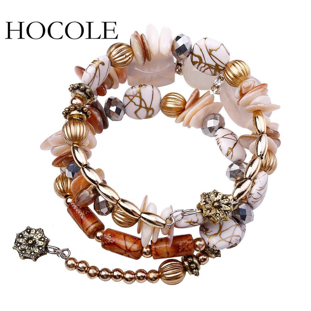 HOCOLE 2017 New Hot Bohemian Charm Bracelet Crystal Nature Stone Shell Wood Wrap Bracelets For Women Fashion Jewelry Boho Bangle