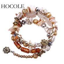 HOCOLE 2017 New Hot Bohemian Charm Bracelet Crystal Nature Stone Shell Wood Wrap Bracelets For Women Fashion Jewelry Boho Bangle