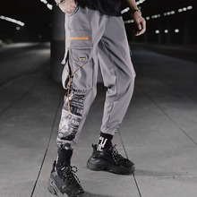 Men cargo pants 2019 new arrival spring and autumn hip hop trend pockets male ankle-length gray black Korean style n17