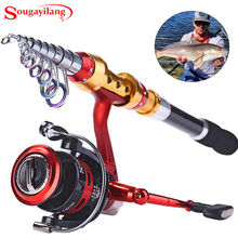 Sougayilang 1.8m-3.6m Fishing Rod With 14BB Fishing Reel Rock Boat Spinning Carbon Telescopic Fishing Rod With Reel Combos