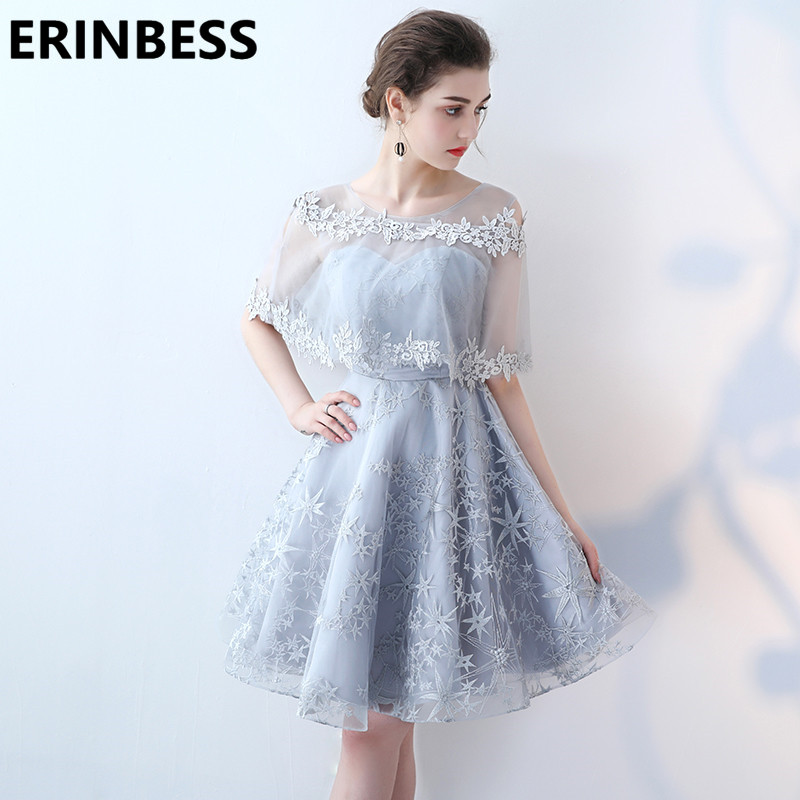 New Silver Champagne Short Lace   Prom     Dresses   Two Pieces Vestido De Festa A Line Scoop Neck Half Sleeve Formal evening Gowns