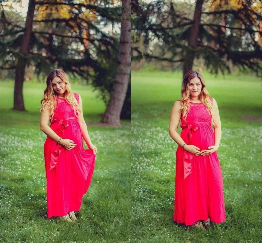 Maternity prom dress prom dress for pregant women - 2017 Red Chiffon Plus Size Maternity Evening Dresses For Pregnant Women A Line Long Formal Evening