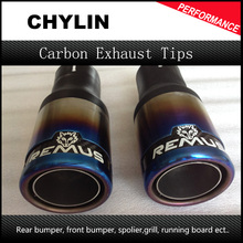1Pair Inlet: 63mm Outlet:76 mm Universal Car Stainless Steel Remus Blue Exhaust Muffler Tip Exhaust System Exhaust Pipe