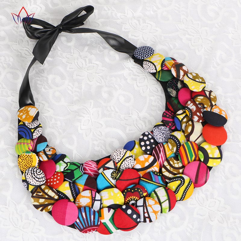 2017 African Button Necklace Ankara Button Necklace African Clothing African Multicolor Button Covered Necklace BRW WYA067