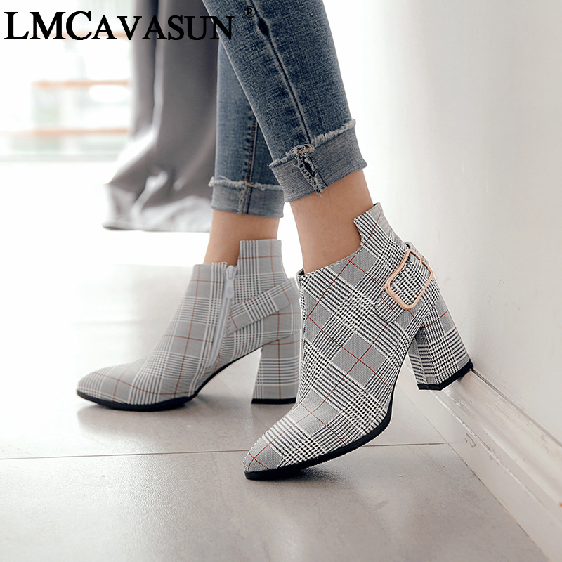 LMCAVASUN women luxury grid leather shoes women zapatos mujer zapato ankle boots chunky high heels booties pumps