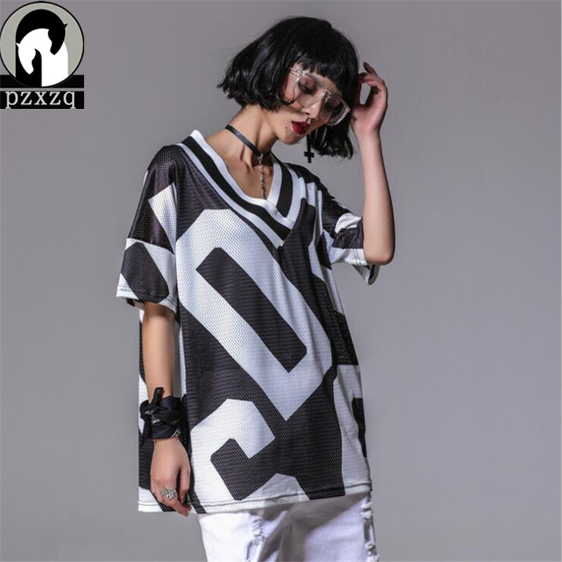 Design High Quality Summer New T shirt For Women Female Short-sleeve V-neck Geometric Print Large Size Loose Womens Clothing